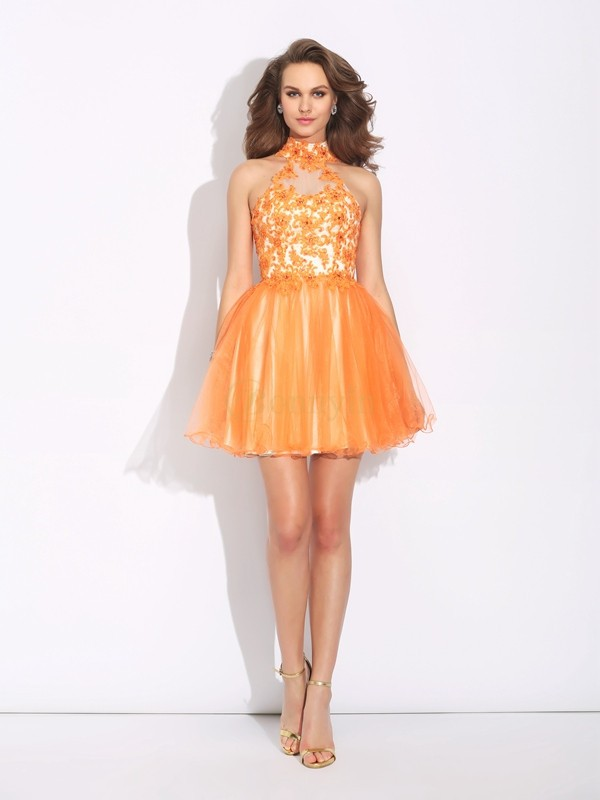 Orange Net Col montant A-ligne/Princesse Courte/Mini Robes de cocktail