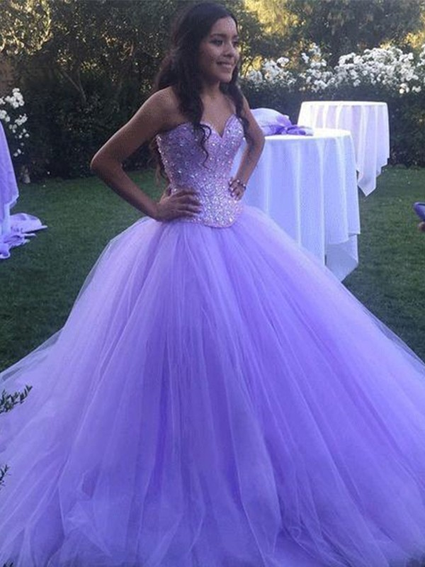 Lilas Tulle Amoureux Forme Marquise Traîne Brosse Robes