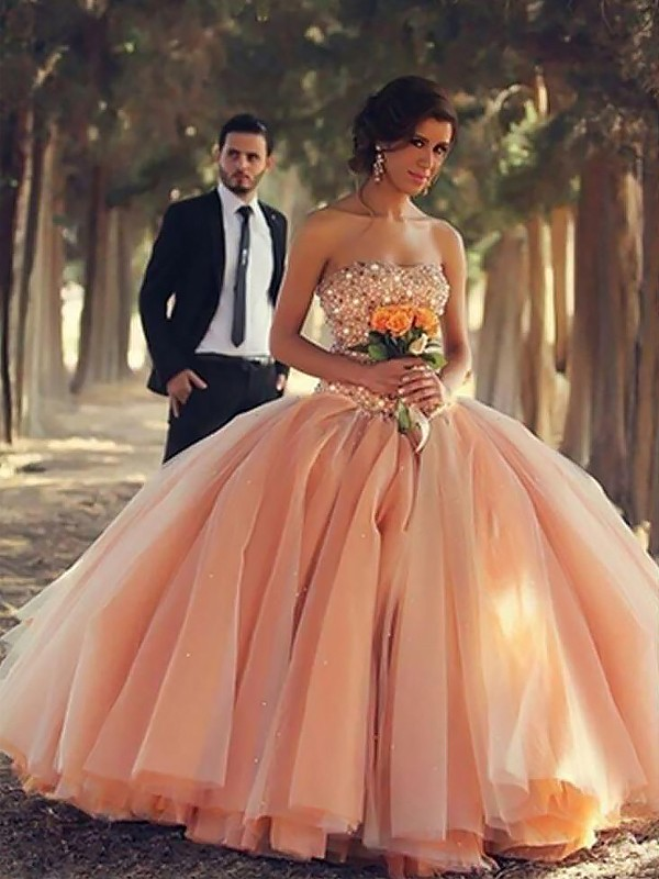 Orange Tulle Sans Bretelles Robe de bal Longueur Sol Robes