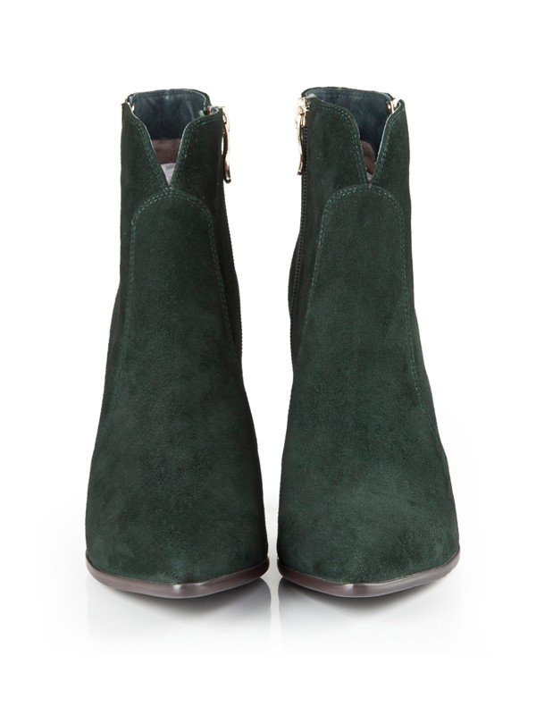 Bonnyin Suede Thick Heel Pointed Toe Boots