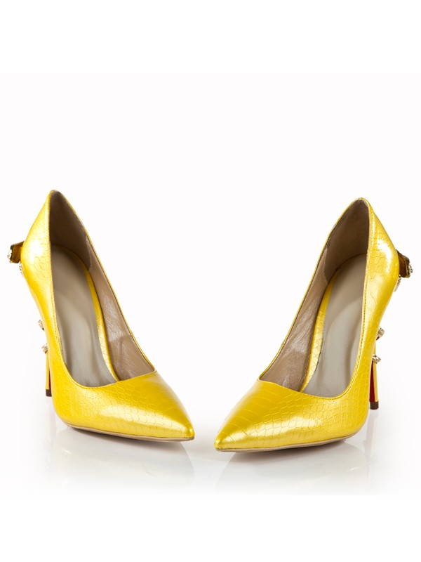Bonnyin Jaune en cuir verni Pointed Toe High Heels
