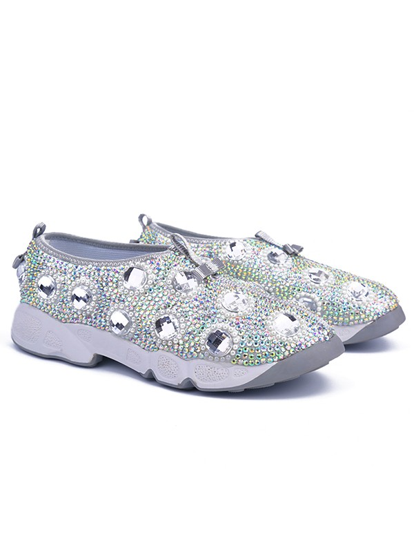 Bonnyin Argent Leather Leather Diamond Sports Shoes