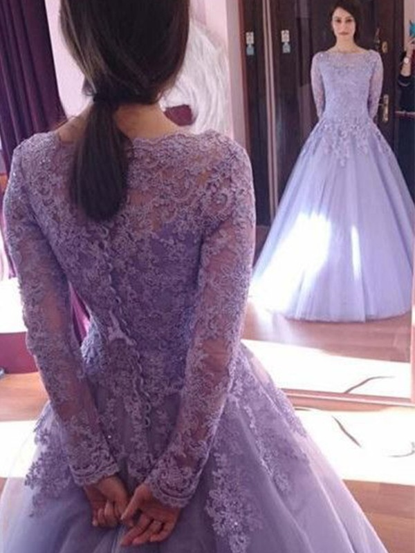 Lilas Tulle Bijou Forme Marquise Longueur Sol Robes