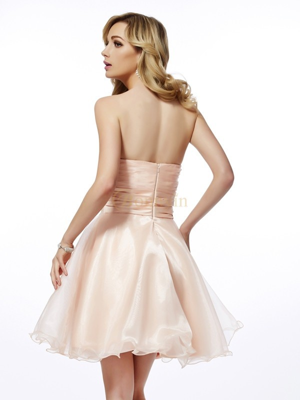 76e3f3d9a1f Perle rose Tulle Col en coeur A-ligne Princesse Courte Mini Robes de  cocktail