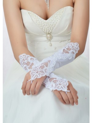 Superbes gants de mariage en satin de dentelle perlée