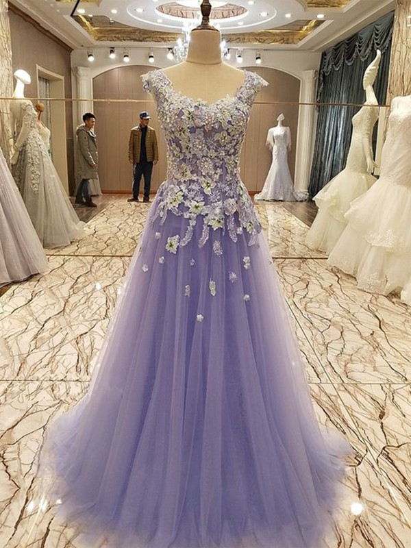 Lilas Tulle Col rond A-ligne/Princesse Longueur Sol Robess