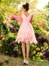 Pink Chiffon V-neck A-Line/Princess Knee-Length Bridesmaid Dresses